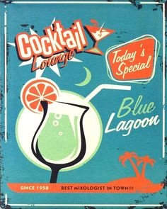 Vintage Metal Sign - Blue Lagoon Cocktail Lounge