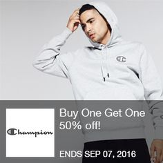Champion Coupon - 50% off!  Buy One Get One 50% off! Click to shop. Offer valid 7/14-9/6/2016 only.   Brought to you by http://www.imin.com and http://www.imin.com/store-coupons/championusa-com