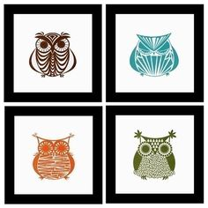 Owl Gocco Print Set No. 3: It's going to become quickly apparent how much I love owls.  If I had any talent for husbandry whatsoever, I would run away to an owl rescue and cuddle owlets all day long.