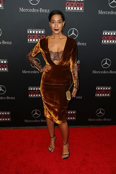 Tracee Ellis Ross's African American Film Critics Association Oscar Viewing Party Thai Nguyen Atelier Gold Silk Velvet Dress with Lace Inserts
