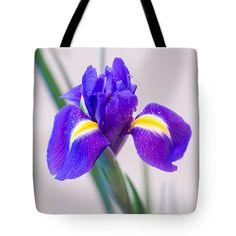 Wonderful Iris With Dew Tote Bag by Yana Reint #YanaReint #YanaReintFineArtPhotography #FineArt #ToteBag#homedecor #Bag #Iris #lovely iris #flowers