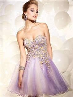 A-line Strapless Sweetheart with Sequins Short Tulle Prom Dress PD11162 Sale Online low v-neck prom dresses,  plus  a-line,  #graduation  #homecoming -  sweetheart prom dresses
