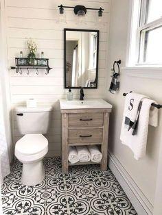 décoration sanitaires sol carreaux style #vintage Bathroom Design Small, Bathroom Interior Design, Simple Bathroom, Bathroom Designs, Minimal Bathroom, Interior Modern, Kitchen Interior, Kitchen Design, Rustic Bathrooms