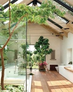 Bathroom with a cool atrium/greenhouse feel to it....