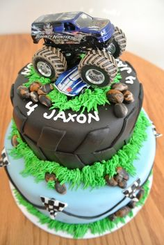 Monster truck themed birthday cake.  Inspired by many photos found on here.
