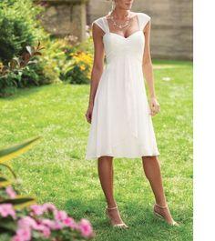 Stock white / ivory chiffon beach wedding dress short wedding dress knee-length prom dresses party dresses bridesmaid dresses Beach dresses on Etsy, $65.00