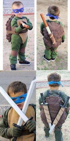 Teenage Mutant Ninja Turtle Costumes: Great idea for Brayden's Halloween costume! just wish there was one for Ralph to look at Halloween Costumes Ninja Turtles, Diy Ninja Turtle Costume, Baby Halloween Costumes For Boys, Ninja Turtle Party, Family Costumes, Boy Costumes, Halloween Fun, Costume Ideas, Teacher Costumes