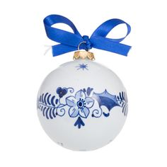 Royal Delft Christmas Ball. All Royal Delft is painted entirely by hand with brushes made from hairs of martens and squirrels and black paint containing colbalt oxide which turns blue in the firing process.