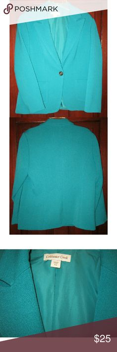 """Coldwater Creek P 12 M L Knit Jacket Blazer Teal Lovely one button knit jacket from CC.  Size Petite 12 but could be worn by some regulars if you check measurements.  Pretty teal color, long sleeves, two lower front pockets.  Inner lining and built in shoulder pads.  Fitted shape, no back slit.  Very good condition. 21"""" bust doubled to 42"""", buttoned and with a bit of give in the knit,   26"""" long 69% polyester, 27% rayon, 4% spandex, 100% polyester lining Coldwater Creek Jackets & Coats"""