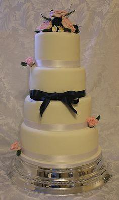 Pink and Navy wedding cake!!