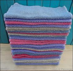 Make your own washcloths from your old towels