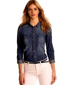 bd832247e1f Calvin Klein Jeans Button-down Long Sleeve Womens Denim Shirt Medium Wash M  for sale online