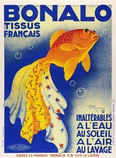 Bonalo Tissus fabrics advertising poster, H. Le Monnier, ca. 1932