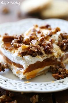 This creamy pralines and cream dream dessert calls for sugared pecans and cookie crust to add a scrumptious crunch.