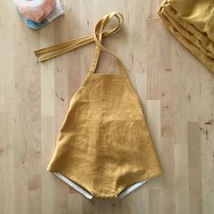 GIRLS LINEN ROMPER mustard yellow linen-rayon by BertieBumsShop
