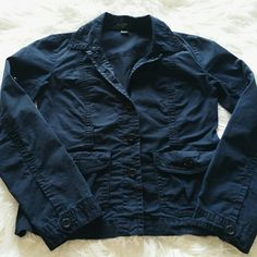 "SALE J.Crew Navy Blue Jacket Stylish Navy Blue J.Crew Jacket 22"" from top of shoulder to bottom 22"" Sleeve length 17"" from armpit to armpit 98% Cotton 2% Spandex J. Crew Jackets & Coats Blazers"