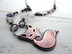 Eclectic Fox Necklace by Lost Sparrow Jewelry Fox Jewelry, Metal Clay Jewelry, Copper Jewelry, Jewlery, Fox Collection, Clay Design, Jewelry Polishing Cloth, Clay Ideas, Purple Amethyst