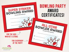 Bowling party award certificates - part of the printable collection available from Chickabug!