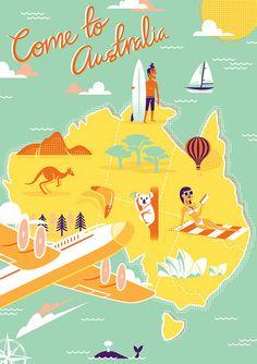 come to australia retro travel poster