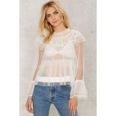 Tulle For Your Lovin' Ruffle Blouse ($78) ❤ liked on Polyvore featuring tops, blouses, white, polka dot blouse, ruffle top, layered blouse, white top and see through blouse