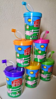 Farm Animals Personalized Party Favor Cups DIY by PartyFavorCups4u DIY Party Favor Cups. These are great for a child's party to put treats inside of and put inside your party bags.