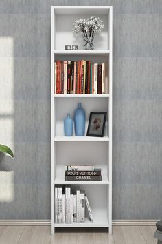 Biblioteca/ raft pentru carti, Barkin Homs, alb, 150 x 40 x 19 cm, PAL 18 mm
