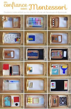 The Art in Montessori Pedagogy - .Art trays idea for Montessori Maria Montessori, Montessori Trays, Montessori Preschool, Montessori Education, Montessori Elementary, Montessori Bedroom, Elementary Teaching, Baby Education, History Education