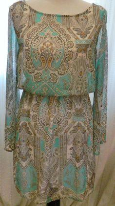 Mono B Anthropologie Dress Paisley Long Sleeves Size S #MonoB #Blouson #Casual