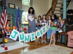 Girl Scouts Junior Bridging | Then they flipped over their Brownie banner to reveal Juniors!