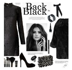 """""""Selena Gomez in black"""" by dgia ❤ liked on Polyvore featuring Miss Selfridge, WearAll, Nathalie Trad, Neola, Glamour Status, Manic Panic NYC, NARS Cosmetics, NYX, Anja and Jennifer Behr"""