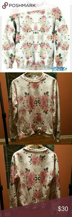 Blessed floral sweater This sweater is awesome! One of my favorite designs!  Polyester/spandex mix. Worn out a couple of times, but still in excellent condition. Freshtops Sweaters Crew & Scoop Necks