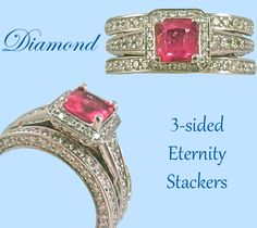 These sparkling, 3-sided Diamond stackers look amazing with just about any ring!  We stacked them with a gorgeous Pink Tourmaline and Diamond ring.
