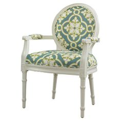 Featuring a sophisticated Louis-inspired design and quatrefoil-print upholstery, this stylish arm chair brings a pop of panache to your living room or den...