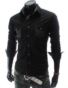 (CZ13-BLACK) Premium Slim Fit Long Sleeve Dress Shirts