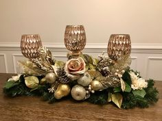 Items similar to Christmas Centerpiece on Etsy Rose Gold Christmas Decorations, Christmas Rose, Elegant Christmas, Christmas Candles, Christmas Tree Toppers, Xmas Decorations, Christmas Wreaths, Christmas Crafts, Holiday Decor