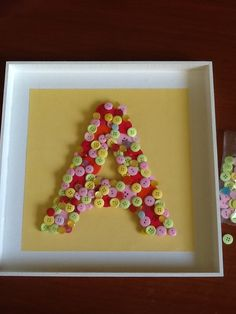 Diy - baby gift - buttons letter - a - yellow pink Green  - cute -made by me
