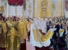 Wedding of Nicholas II and Alexandra Feodorovna by Laurits Tuxen Royal coll.) - Alexandra Feodorovna (Alix of Hesse) - Wikipedia Alexandra Feodorovna, Belle Epoque, Zar Nikolaus Ii, Tsar Nicolas, Queen Victoria Prince Albert, House Of Romanov, Winter Palace, Hermitage Museum, Princess Alexandra