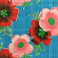 $15 Mexican Oilcloth in Big Flowers and Stripes Pale Blue