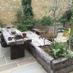 Railway sleeper table and bench More