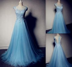The A-Line Tulle O-Neck Prom Dresses,The Charming Appliques Floor-Length Evening Dresses, Prom Dresses, Real Made Prom Dresses On Sale,