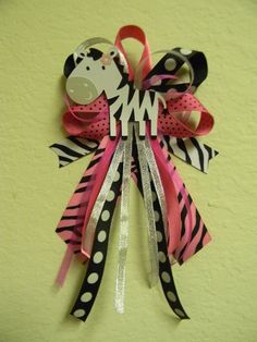 Hot Pink ZEBRA baby shower pin/corsage. $12.00, via Etsy.