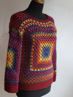 Valentine's Day Gift for her Granny square sweater by Tanelly