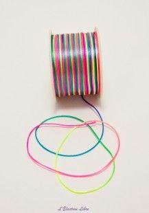 """lacet nylon satiné """" rainbow""""  : Fils, cordons pour bijoux par l-electron-libre sur ALittleMercerie"""