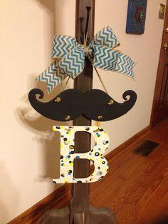 Mustache baby shower door decor
