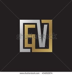 GV initial letters looping linked square elegant logo golden silver black background