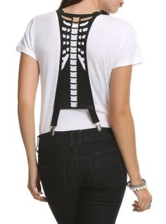Black+suspenders+with+a+cut-out+spine+design+on+the+back.