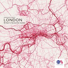 https://flic.kr/p/JQ4r4J | OS Maps routes in London | We couldn't resist taking a look at some other popular areas that didn't make it into the top ten. London is particularly clearly defined in Charley's data visualisation, especially along the River Thames and on the bridges crossing it.