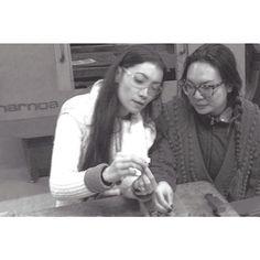 Linda and Kim checking the fit on components of the lock.  Take a sneak peak into how Linda and Kim create their custom, one-of-a-kind hardware pieces.  #MoroTan #Fashion #NYC #Beauty #Luxury #HandBags #LindaMoro #KimTran #Accessories #luxuryhandbags #nyc #madeinnewyork #madeinnyc