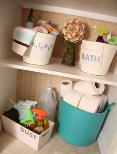 Store cleaning supplies where you use them- which might mean different locations.   Find  cute containers that are big enough to hold your supplies, but small enough to not attract clutter. Handles are a plus too.   Instead of lumping all of your cleaning supplies into one container, consider dividing your supplies and making smaller cleaning kits for specific chores