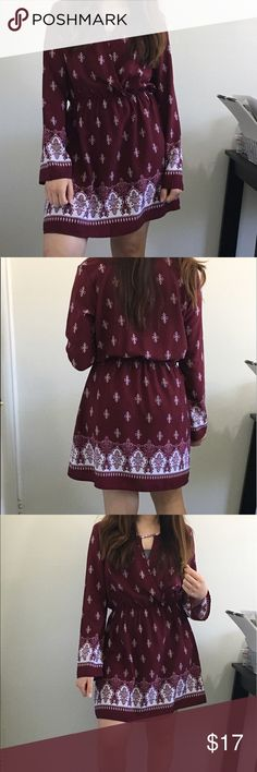 Spring Dress Maroon dress with some white detailing. It is very light weight and good for the spring and summer time. It can also be worn in the fall with some pantyhose or leggings. It fits a little above the knee and as for size, I recommend it for Small-Medium Charlotte Russe Dresses